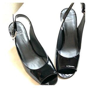 Fabulous Stuart Weitzman black peep toe wedges s7